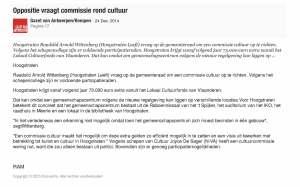 24-12-2014-Oppositie vraagt commissie rond cultuur